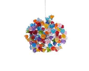 Ceiling Light Fixture with Rainbow color roses Pendent Light for hall, bathroom or bedroom.