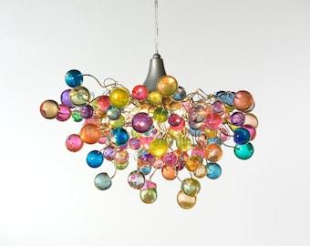 Lighting chandeliers, hanging lighting with Pastel bubbles for girls bedroom, living  room, bathroom designer lighting.