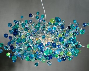 Cobalt blue Hanging chandeliers. Lighting.  light fixture with blue bubbles for Dining Room, living room or open space.