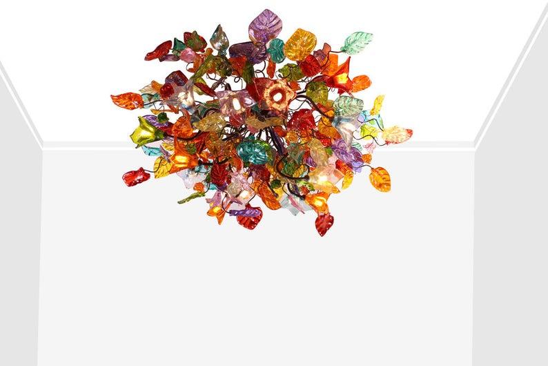 Plafoniera Fiori : Montaggio della plafoniera fiori multicolori e foglie etsy
