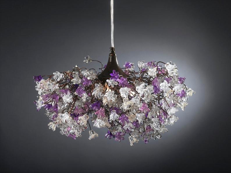 Plafoniera Fiori Bianca : Luce plafoniera lampada a sospensione con viola grigio e etsy