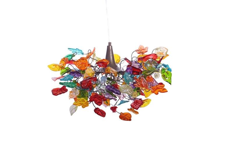 Kronleuchter Mit Blättern ~ Beleuchtung hängen kronleuchter mit bunten blättern und etsy