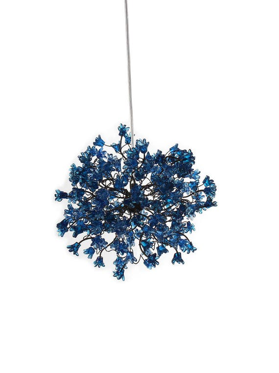 Blue Pendant Light With Flowers For Hall Or Bathroom Or As A Bedside Light A Unique Pendant Lights