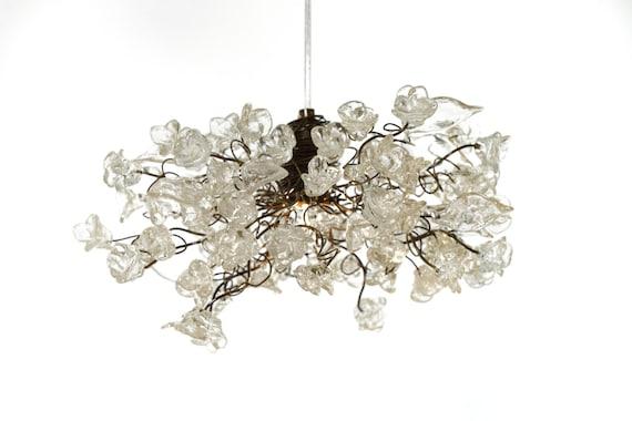 Plafoniera Fiori : Lampada a sospensione con fiori chiari krystal plafoniere per etsy
