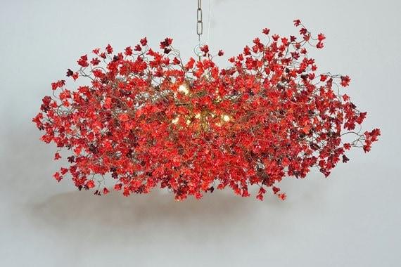 Kronleuchter In Rot ~ Rote kronleuchter beleuchtung hängelampe mit roten blumen etsy