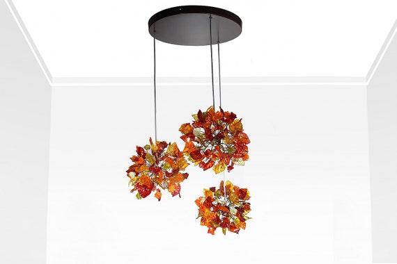 Plafoniere Con Foglie : Lampade a sospensione con foglie e fiori di colore caldo etsy