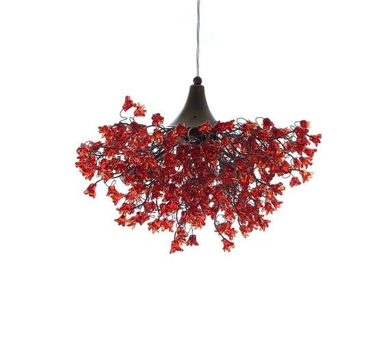 Chambre romantiques chandeliers avec fleurs rouge lampe etsy for Chambre romantique rouge