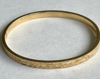Art Nouveau Floral Bracelet  Gold Gilded Brass  Wide Bangle Trumpet Flowers  Ornate Leafy Design  Hand Made  1900/'s Antique Jewelry