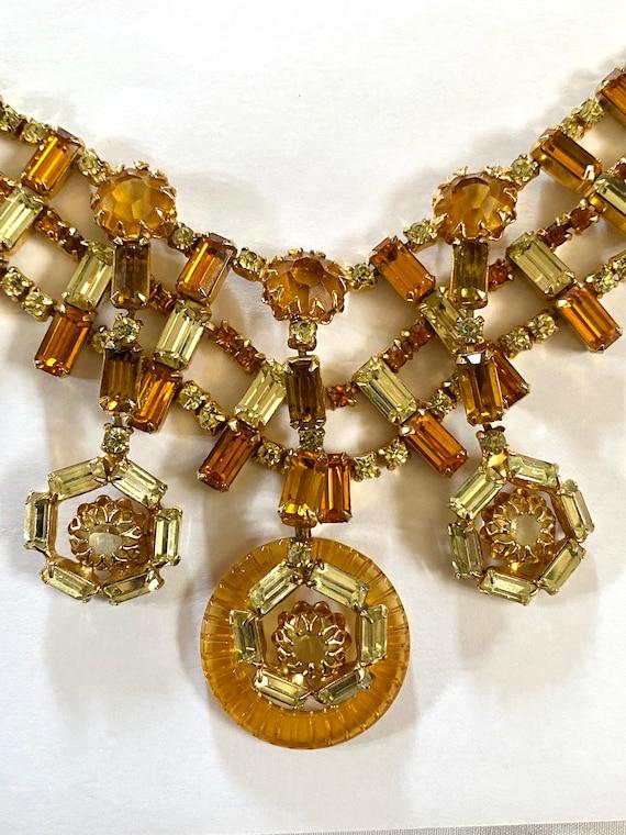 Vintage Layered Rhinestone Necklace, VinAmber Rhi… - image 5