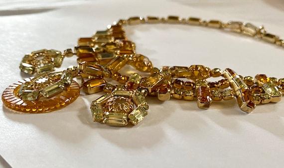 Vintage Layered Rhinestone Necklace, VinAmber Rhi… - image 6
