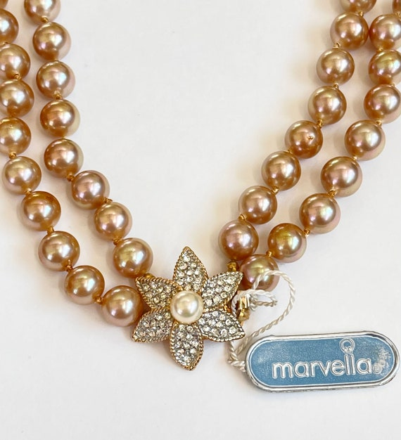 Marvella Pearl Necklace, Double Strand Faux Pearl… - image 8