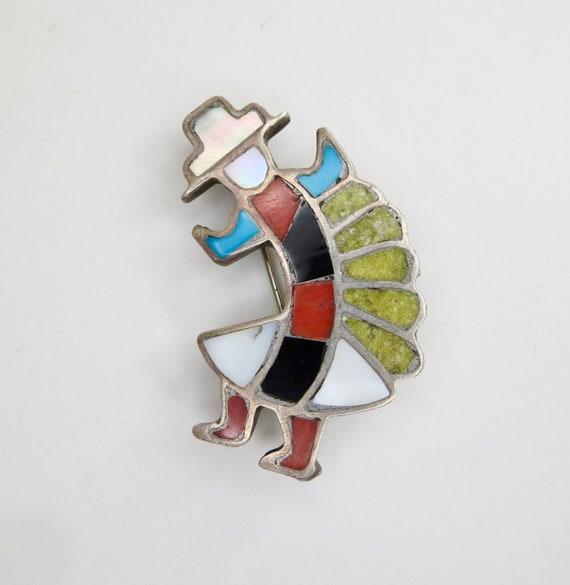 Rainbow Man Multistone Inlay ZUNI BroochPin Dancer Sterling Silver