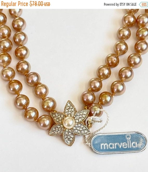 Marvella Pearl Necklace, Double Strand Faux Pearl… - image 1