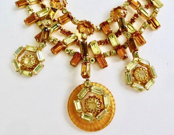 Vintage Layered Rhinestone Necklace, VinAmber Rhin
