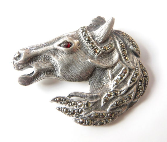 Sterling Equestrian Horse Brooch,  Marcasite Horse