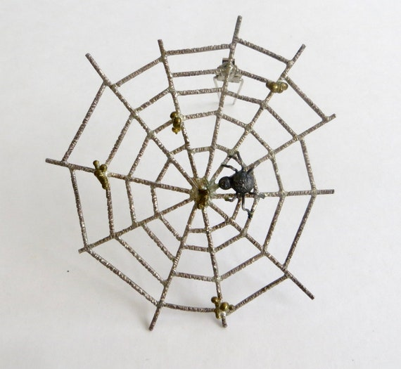 Vintage 950 Silver Spider and Web Dress Clip, Spid