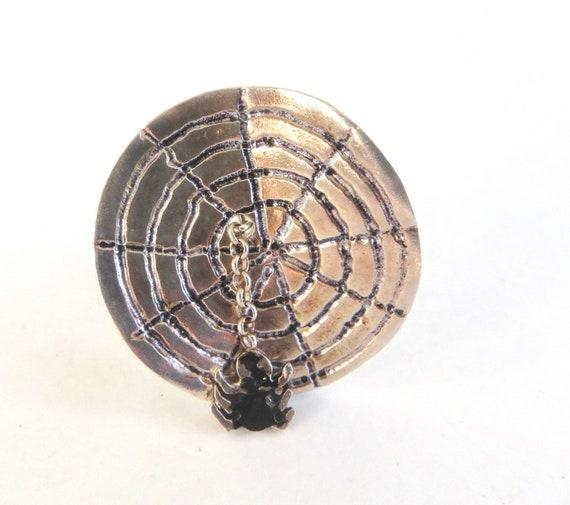 Sterling Spider Ring, Spider on Spider Web, Size 7
