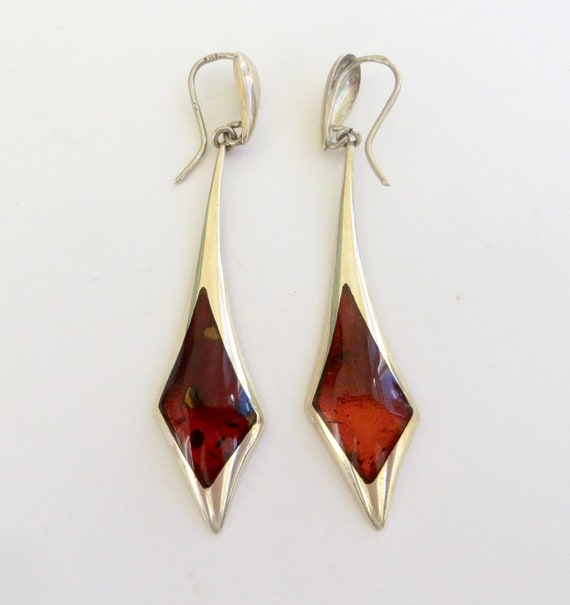 Czech Sterling Amber Earrings, Vintage Amber Drop