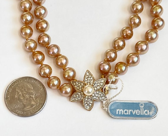 Marvella Pearl Necklace, Double Strand Faux Pearl… - image 2