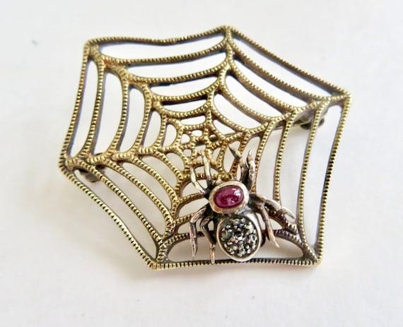 Vintage Sterling Spider Web Brooch, Marcasite Spid