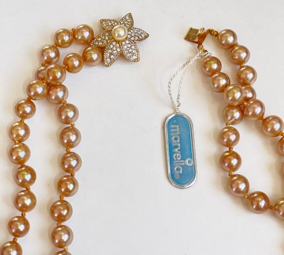 Marvella Pearl Necklace, Double Strand Faux Pearl… - image 6