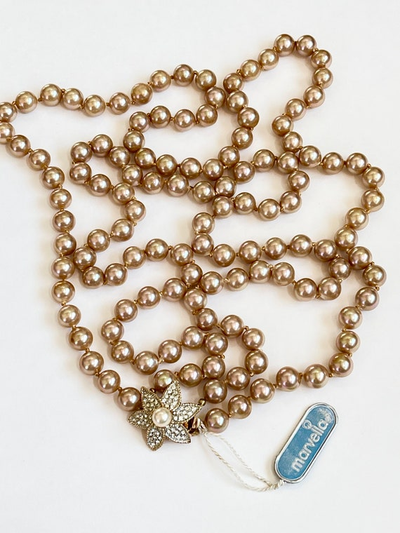Marvella Pearl Necklace, Double Strand Faux Pearl… - image 3