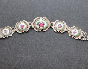 Vintage Rose Bracelet, Sterling Cannetille, Porcelain Rose Panels, Filigree & Roses, Garden Wedding,