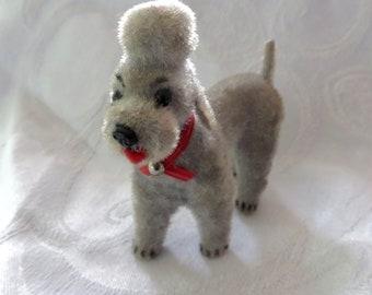 Vintage Wagner Poodle,  Kunstlerschutz West Germany Flocked Standard Poodle Grey Flocked Putz Dog Vintage Dog Figurine