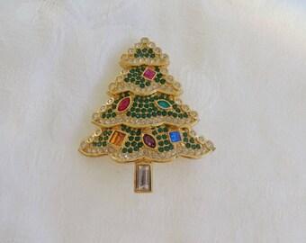 Swarovski Christmas Tree Pin, Christmas Brooch, Limited Edition Line, Vintage Swarovski Jewelry