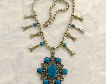"""Vintage Squash Blossom Necklace SIGNED ART  Turquoise Silver 24"""" Necklace Southwest Jewelry Native American Style Festival Necklace"""