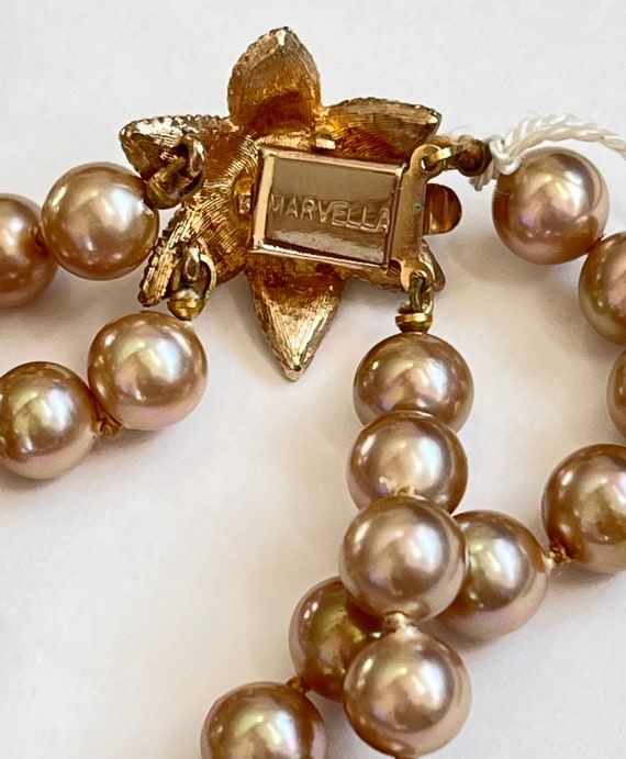 Marvella Pearl Necklace, Double Strand Faux Pearl… - image 5