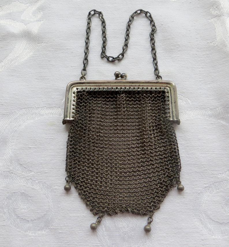 Art Deco Antique Art Deco Greek Key Style Frame German Silver 4 Ball Tassel Mesh Purse