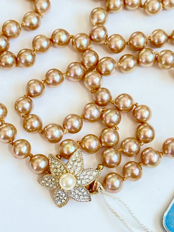 Marvella Pearl Necklace, Double Strand Faux Pearl… - image 4