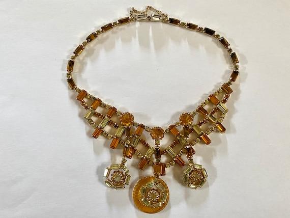 Vintage Layered Rhinestone Necklace, VinAmber Rhi… - image 4