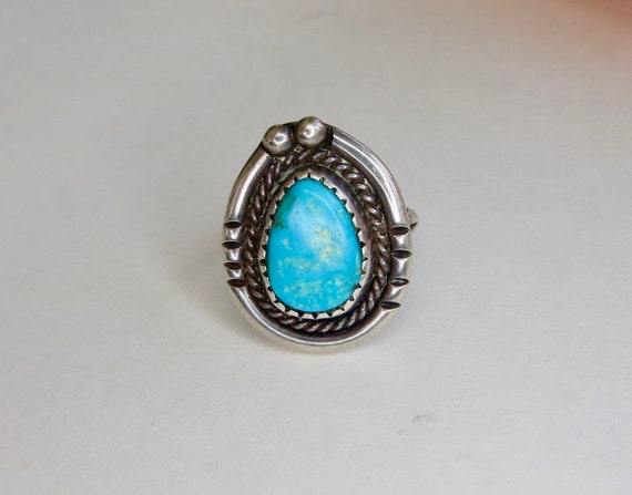 Sterling Native American Turquoise Ring, Rope Twis