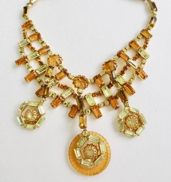 Vintage Layered Rhinestone Necklace, VinAmber Rhi… - image 2