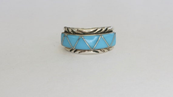 Sterling Native American Turquoise Ring, Sterling