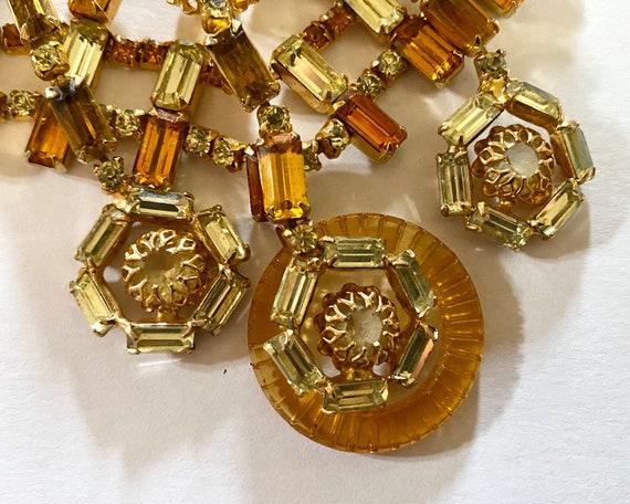 Vintage Layered Rhinestone Necklace, VinAmber Rhi… - image 9