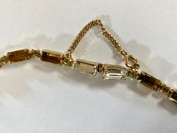 Vintage Layered Rhinestone Necklace, VinAmber Rhi… - image 7