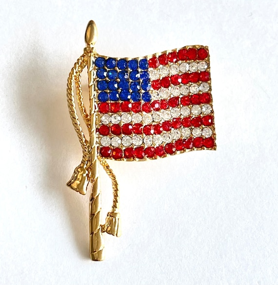 Vintage Gold Tone Double Tassel American Flag Brooch Costume Jewelry Retro Statement Pin Sparkle USA Independence Day 4th of July Pole