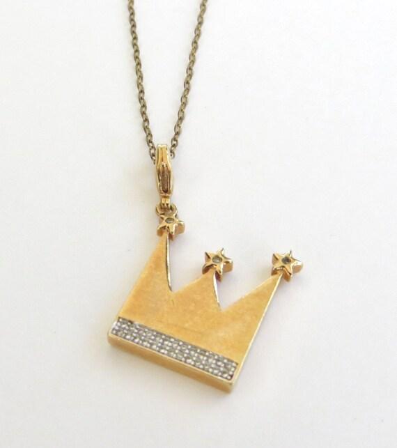Vintage Crown Pendant Necklace,  Rhinestone Crown
