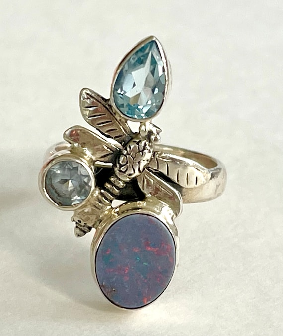 Sterling Opal Dragonfly Ring, Chunky Opal & Aquama