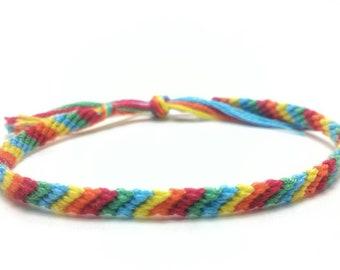 Rainbow friendship bracelet, string friendship bracelet, friendship gift, best friend gift, woven bracelet, gift for her, gift for him
