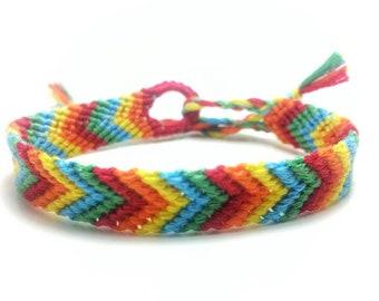 Rainbow friendship bracelet, macrame bracelet, chevron, woven bracelet, friendship gift, boho bracelet, gift for her, best friend gift