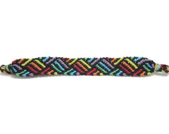 Rainbow weave string friendship bracelet, striped friendship, rainbow friendship, friendship gift, rainbow bracelet, gift under 20