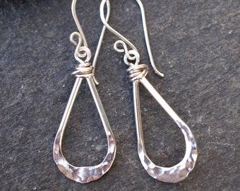 Silver Teardrop Earrings, Argentium silver drop earrings, teardrop earrings, hammered silver, silver drop earrings handmade by ARC Jewellery