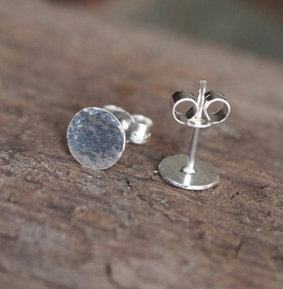 handmade Argentium earrings arc jewellery UK hammered silver earrings small recycled silver earrings Silver Stud Earrings silver studs