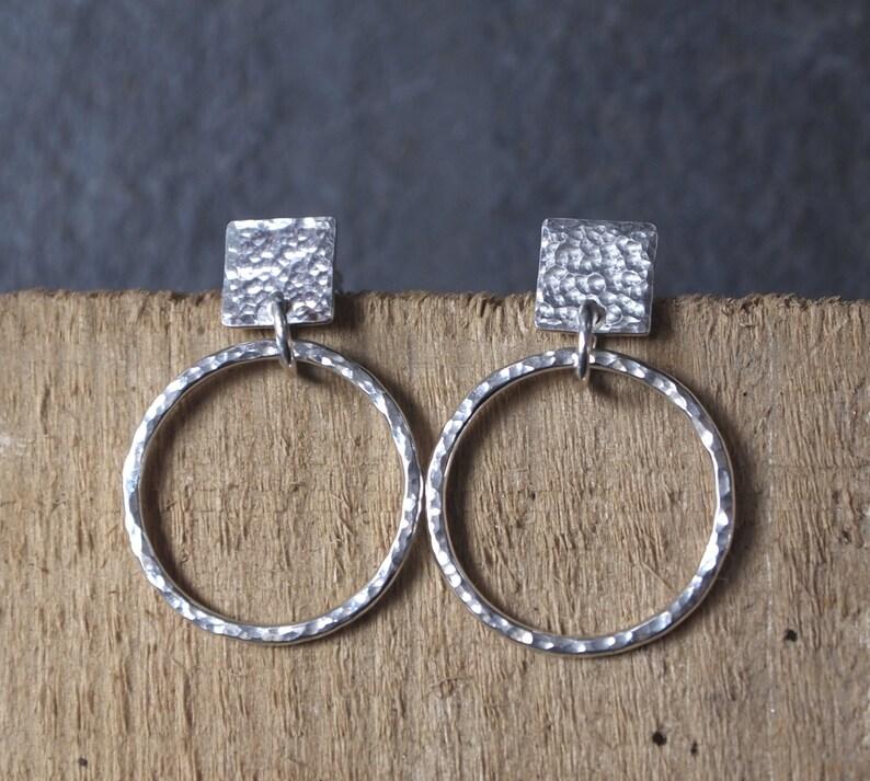 84c5bdf0025 Silver hoops, handmade silver hoop earrings, hammered sterling silver  jewelry by arc jewellery uk