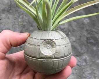 Small Death Star Concrete Planter - Single Planter - Includes Air PLant - Star Wars - Office Decor