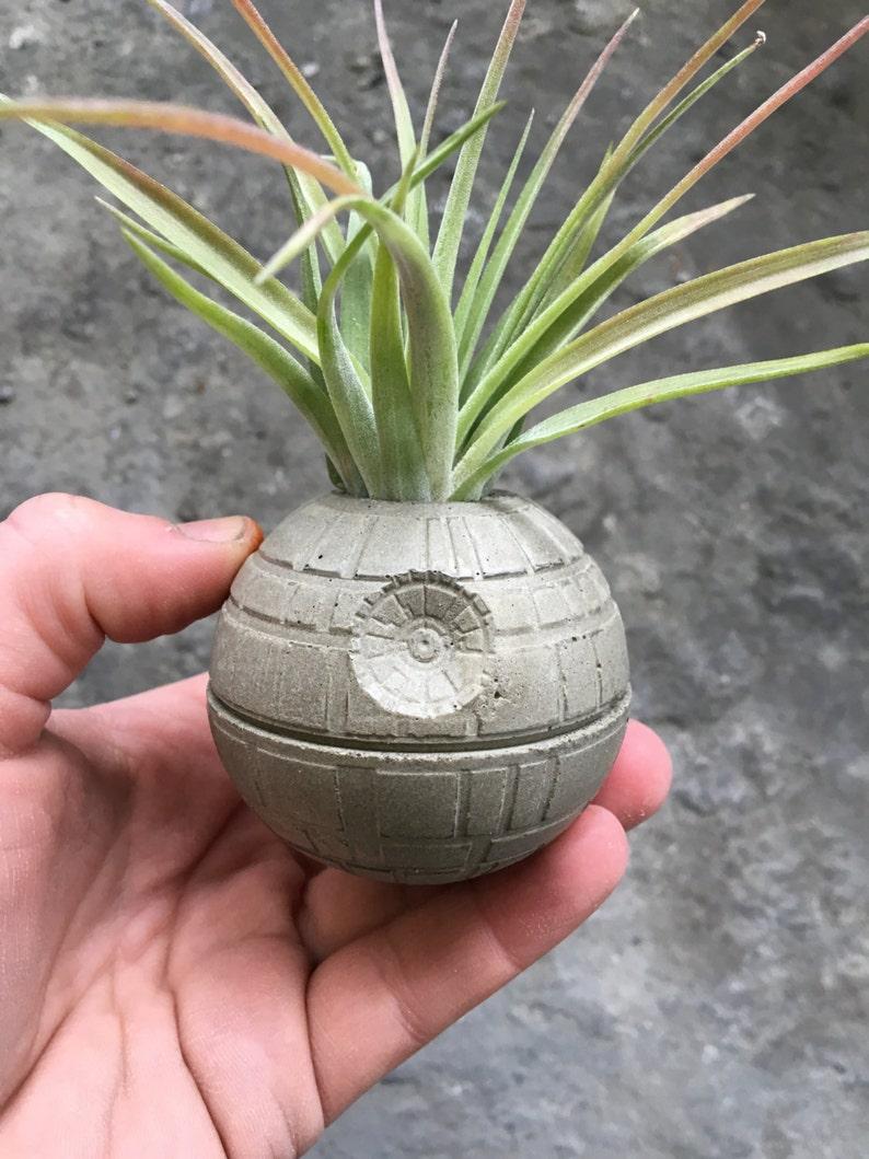 Small Death Star Concrete Planter  Single Planter  Includes image 0